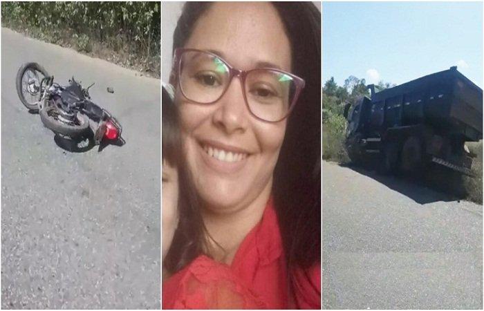 Mulher morre em acidente entre moto e caminhão caçamba na PI-214 no Norte do Piauí
